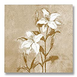 Neron Art - Hand painted Floral Oil Painting on Rolled Canvas for Living Room Wall Decor - White Flower 48X48 inch