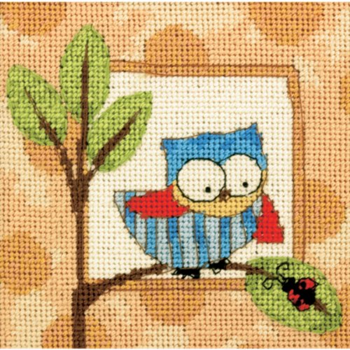 """Brand New Curious Owl Mini Needlepoint Kit-5""""""""X5"""""""" Stitched In Thread Brand New"""