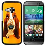 All Phone Most Case Hard PC Metal piece Shell Slim Cover Protective Case for HTC ONE MINI 2 M8 MINI Basset Hound  Pendant Ear Dog