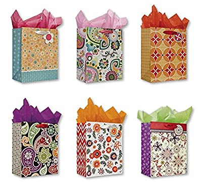 All Occasion and Birthday Party Gift Bags for Women Set of 6 Medium Birthday Gift Bags w/ Flowers, Glitter, Tags, and Tissue Paper for Women, Girls