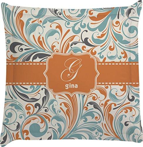 Orange & Blue Leafy Swirls Personalized Euro Sham Pillow Case front-981418