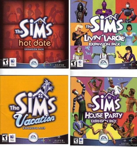The Sims Expansion Packs Collection 1 : Livin Large + House Party + Hot Date + Vacation (Windows 95 & 98)