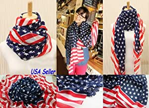 Women Girl Scarves American Flag US Flag Patriotic Theme Scarves