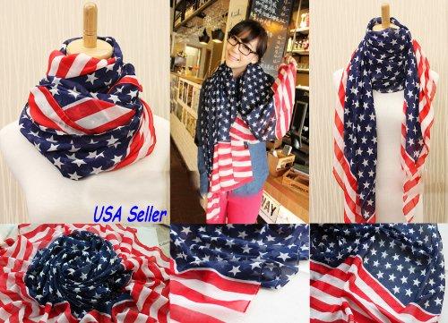 Women Girl Scarves American Flag US Flag Patriotic Theme Scarves
