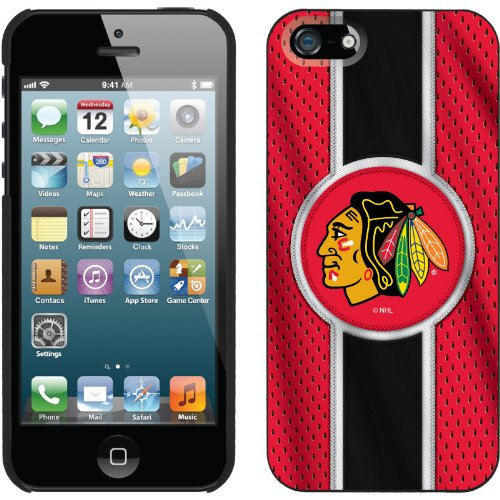 Best Price Chicago Blackhawks® - Jersey Stripe design on a Black iPhone 5s / 5 Thinshield Snap-On Case by Coveroo