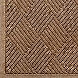 "Andersen 221 Waterhog Fashion Diamond Polypropylene Fiber Entrance Indoor/Outdoor Floor Mat, SBR Rubber Backing, 3' Length x 2' Width, 3/8"" Thick, Medium Brown"