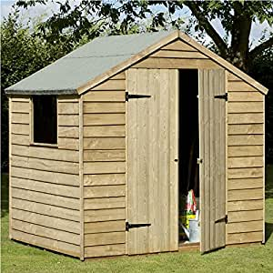 7 x 5 Pressure Treated Double Door Overlap Apex Timber Shed, FREE UK DELIVERY
