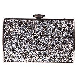 Fawziya Floral Handbags For Womens Purse Party Clutches-Silver