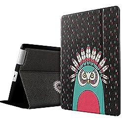 iPad 2 Case/iPad 3/iPad 4 Case, ESR Illustrators Series Folio Case Stand Case Smart Cover with [Auto Wake Up/Sleep Function] for iPad 4/iPad 3/iPad 2(Vibrant Indian)
