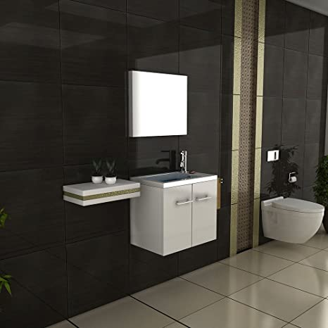 Washbasin with Base Cabinet with Mirror White Weiß hochglanz ohne Hochschrank