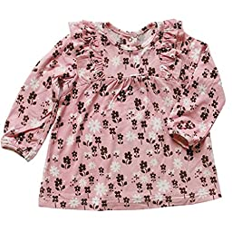 Silkberry Baby Bamboo Floral Print Ruffle Top Cotton Candy 3-6m