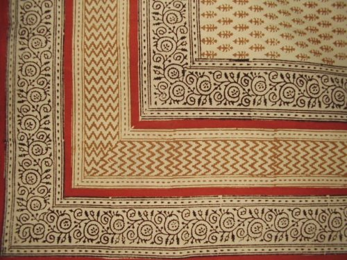 Bagru Block Print Tablecloth 60 x 60 Square-Lovely