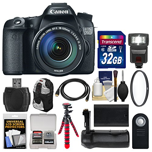 Canon EOS 70D Digital SLR Camera  &  EF-S 18-135mm IS STM Lens with 32GB Card + Backpack + Flash + Battery + Grip + Tripod + Kit