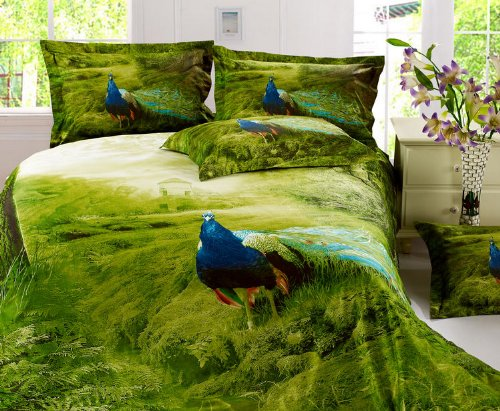 Peacock Print Bedding Set front-135782