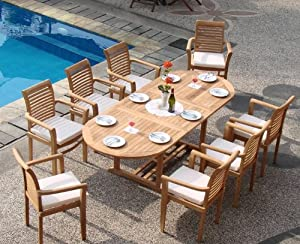 "Grade-A Teak Wood luxurious 9 pc Dining Set : 94"" Double Extension Mas Oval Table (Trestle Leg) and 8 Sam Stacking Arm Chairs"