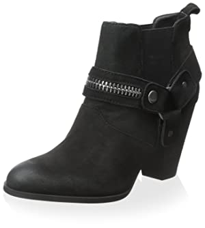 STEVEN By Steve Madden Women's Bootie with Harness, Black Leather, 6 M US