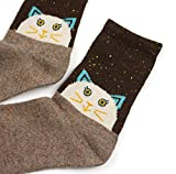 EBMORE® Womens Animal Pattern Warm Socks For Winter (Cat)