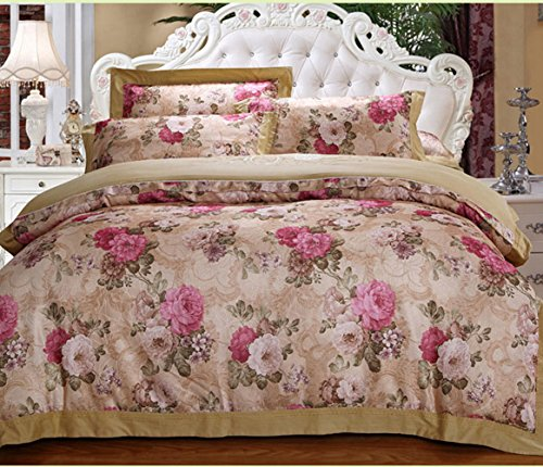 Home Feeling Jacquard Bedding Series Flower Clusters Quilt Cover & Flat Sheet & Pillowcase
