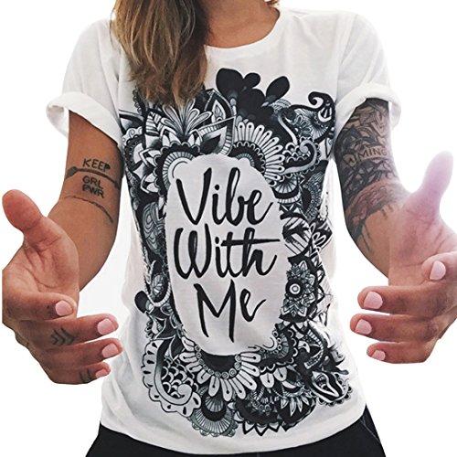 Bellezza Donna T-shirt Camicia Maniche Corte Stampato Floreale Maglietta Ragazza Tops Estate