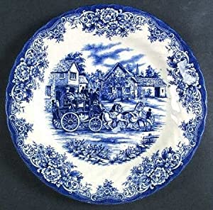 Royal Stafford Coaching Scene-blue (Swirl Rim) Dinner Plate