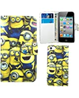 FoneExpert® iPod Touch 4 - Etui Housse Coque Minion en Cuir Portefeuille Wallet Case Cover pour Apple iPod Touch 4 4th Generation + Film de Protection d'Ecran
