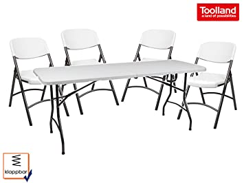 Robuste und stabile Gartengarnitur mit 4 Stuhlen, Kunststoff & Stahlgestell, klappbar, weiß