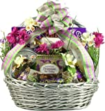 Deluxe Easter Celebration -Elegant Easter Gift Basket of Truffles, Cookies, and Chocolates
