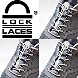 LOCK LACES 3 PACK (Patented Elastic Shoelace and Fastening System) (GRAY:  Gray-Gray-Gray)