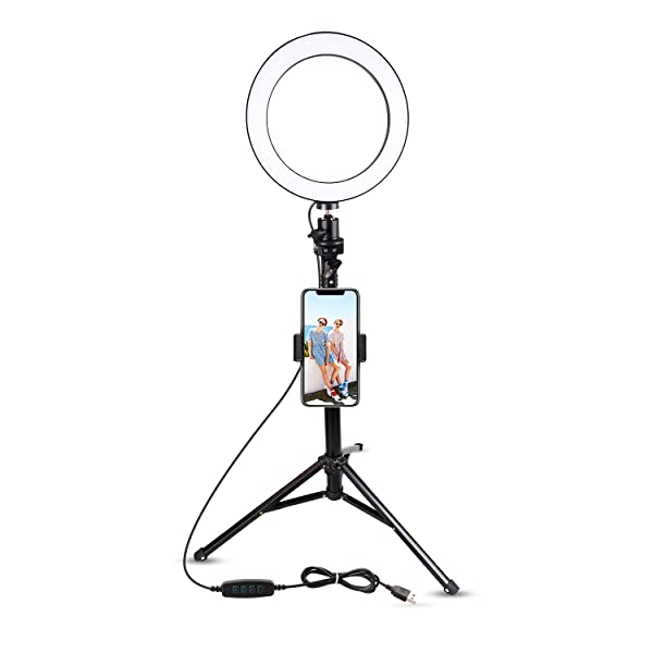 8 Selfie Ring Light With Tripod Stand Cell Phone Holder For Live