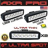 LED Light Bar AXR PRO 2PCS 18w Spot Lights Led Pods Off Road Work Light Led Fog Lights Bar Driving led Lights Truck Jeep Lamp Boat Lights 2 years Warranty (Color: Black)