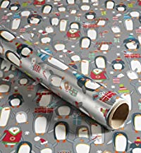 8m Jumbo Extra Long Penguins Christmas Wrapping Paper