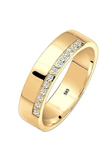Elli Premium White Brilliant Cut 0.12 ct Diamond Ring 375 Yellow Gold Women's Ring 925 Silver - 0606221115