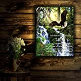 """Glow Decor - 18"""" x 24"""" - Nature Scenes - LED Backlit Prints with Remote - All Batteries Included. (Eagle's Flight with Scripture)"""