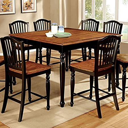 Mayville Country Style Black & Antiuqe Oak Finish 7-Piece Counter Height Dining Table Set