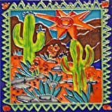 Continental Art Center BD-2070 8 by 8-Inch Southwestern Cactus Theme with Frame Ceramic Art Tile