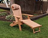 POLY Folding & Reclining Adirondack Chair w/ Attached Ottoman - Amish Made USA - Bright White