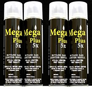 5x Mega Plus Butane Refined Fuel Gas 300 Ml (4 Cans)