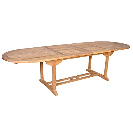 Table de jardin en TECK BRUT QUALITE GRADE A 10/12 pers- table ovale 200/300cm