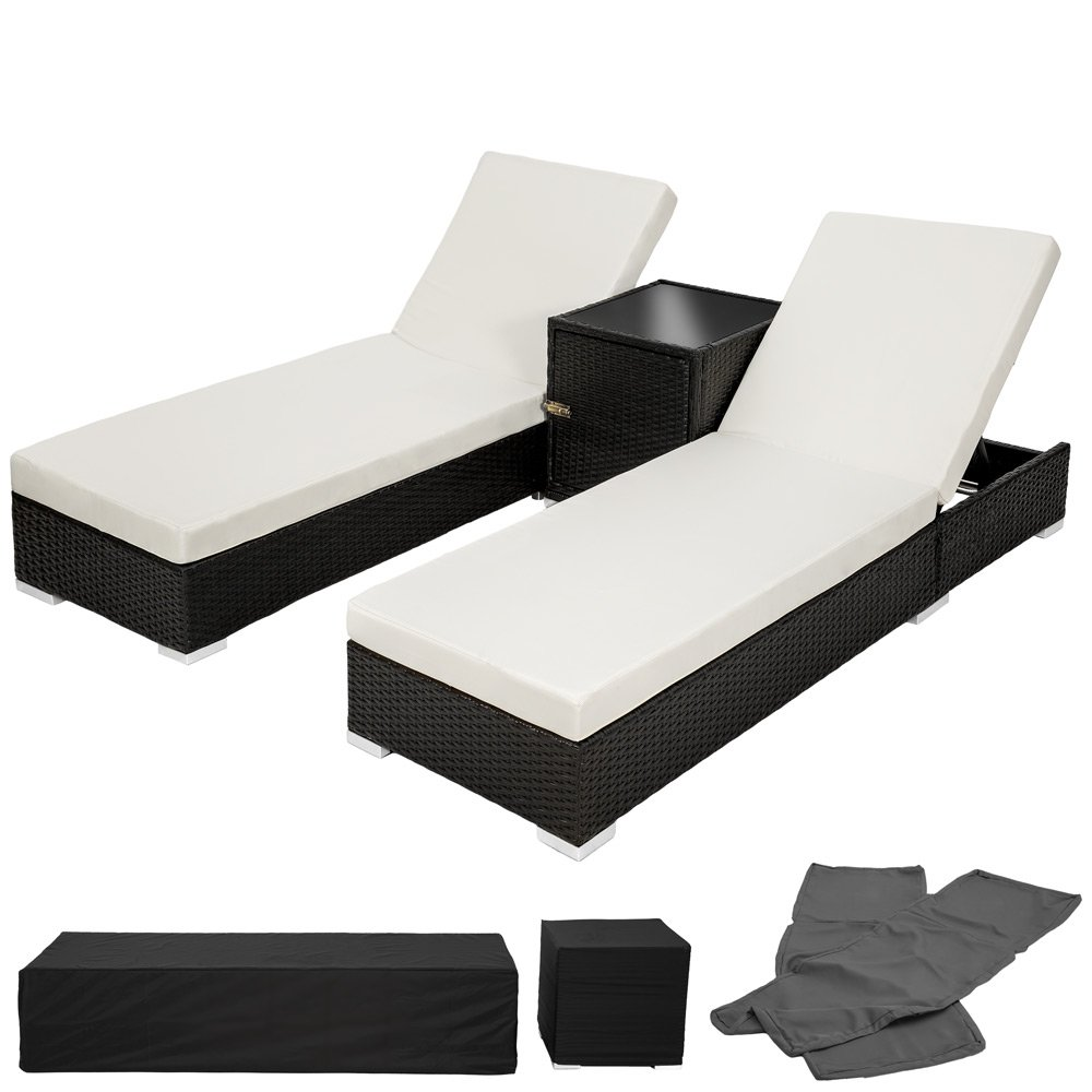 TecTake 2x Aluminium Polyrattan Sonnenliege + Tisch Gartenmöbel Set – schwarz – inkl. 2 Bezugsets + Schutzhülle, Edelstahlschrauben jetzt kaufen