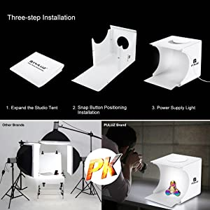 Portable Photo Studio Box for Jewellery and Small Items Photography Lighting Studio Box Booth Shooting Tent Kit with 2x20 LED Lights 6 Colors Backdrop