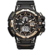 Fashion Sport Watch for Men Shockproof Multifunctional Men's Waterproof Wrist Watch LED Luminescence Electronic Quartz Movement Military Digital Watch for Boys (Color: Black Gold)