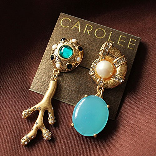 Carolee Lux Fashion Sea Snail and Blue Stone Vintage Earrings