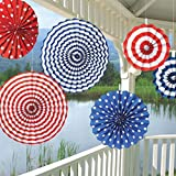 """Amscan Fourth of July Party Stars & Stripes Hanging Fan Decoration (6 Piece), Red/White/Blue, 13 x 11"""""""