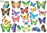 Vibrant Butterflies in Flight - Reusable Instant Decor Self-Adhesive Matte Vinyl Sticker Decal