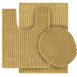 Garland Rug 3-Piece Sheridan Nylon Washable Bathroom Rug Set, Linen