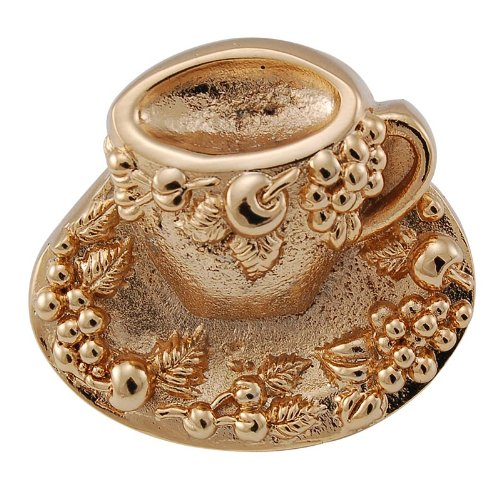Vicenza Designs K1062  Cappuccino Cup Knob, Large, Polished Gold
