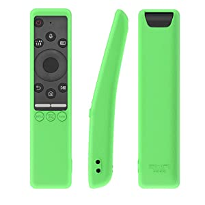 SIKAI Silicone Protective Case for Samsung BN59-01312A Smart TV Remote Shockproof Skin-Friendly Anti-Slip Battery Cover for Samsung QLED 8K TV OneRemote Anti-Lost with Remote Loop (B-Glow Green) (Color: B-Glow Green)