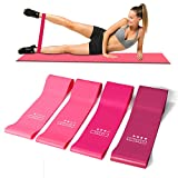 Cabepow Premium Resistance Loop Exercise Bands, Exercise Fitness Resistance Band for Home Fitness,Crossfit,Stretching, Strength Training, Physical Therapy,Natural Latex Workout Bands, Pink Set of 5. (Color: Set of 4-Pink)