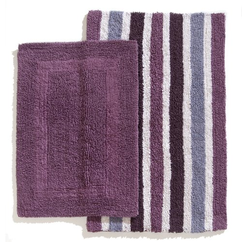Ruia Home Cotton Reversible 2 Piece Bath Rug Set Purple