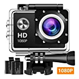 Action Camera, 12MP 1080P 2 Inch LCD Screen, Waterproof Sports Cam 120 Degree Wide Angle Lens, 30m Sport Camera DV Camcorder with with 2 Rechargeable